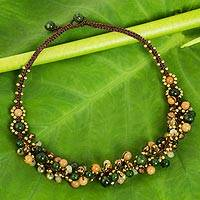 Beaded necklace, 'Tropical Cattlelaya' - Artisan Hand Knotted Green Yellow Beaded Necklace