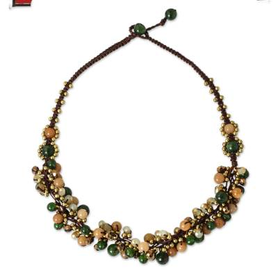 Artisan Hand Knotted Green Yellow Beaded Necklace
