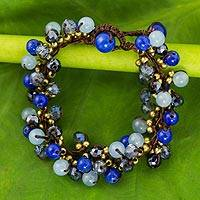 Beaded bracelet, 'Blue Cattlelaya' - Blue Quartz and Brass Clusters on Hand Knotted Bracelet