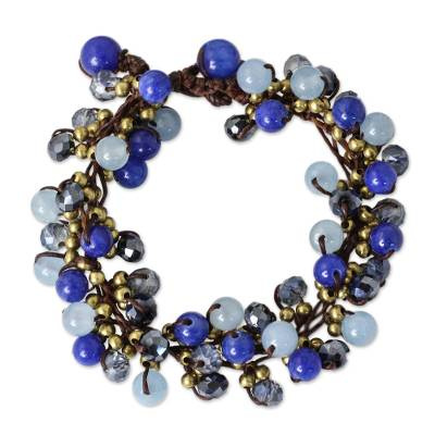 Blue Quartz and Brass Clusters on Hand Knotted Bracelet