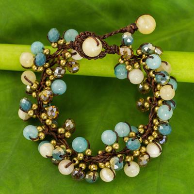 Beaded bracelet, 'Azure Cattlelaya' - Yellow and Blue Quartz Beaded Bracelet Knotted by Hand