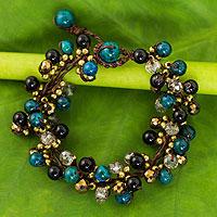 Beaded bracelet, 'Verdant Cattlelaya'