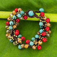 Beaded bracelet, 'Blue Fire Cattlelaya' - Blue and Red Gemstone Clusters on Hand Knotted Bracelet
