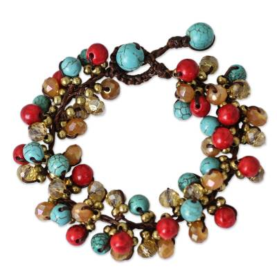Blue and Red Gemstone Clusters on Hand Knotted Bracelet