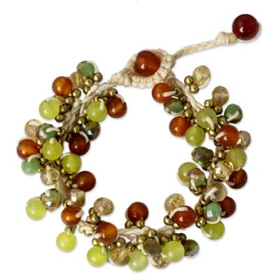 Artisan Hand Knotted Carnelian Gemstone Beaded Bracelet