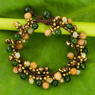 Beaded bracelet, 'Tropical Cattlelaya' - Artisan Hand Knotted Green Yellow Beaded Bracelet