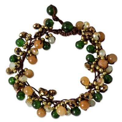 Artisan Hand Knotted Green Yellow Beaded Bracelet