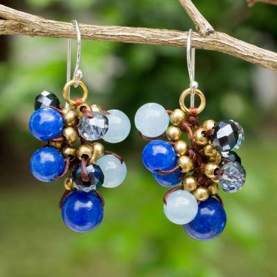 Beaded earrings, 'Blue Cattlelaya' - Blue Quartz and Brass Clusters on Hand Knotted Earrings