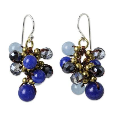 Blue Quartz and Brass Clusters on Hand Knotted Earrings