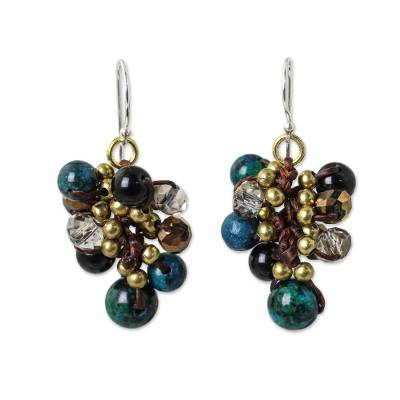 Hand Knotted Beaded Earrings with Serpentine and Onyx