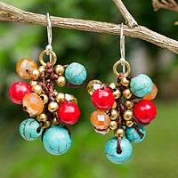Beaded earrings, 'Blue Fire Cattlelaya' - Blue and Red Gemstone Clusters on Hand Knotted Earrings