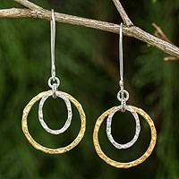 Gold plated dangle earrings, 'Moonrise' - Gold and Silver Plated Handcrafted Thai Earrings