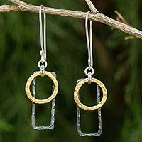 Gold plated dangle earrings, 'Energy' - Geometric Gold Plated Earrings Crafted with Sterling Silver