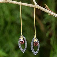 Gold vermeil garnet dangle earrings, 'Sublime' - Garnet Gold Vermeil and Sterling Silver Leaf Earrings