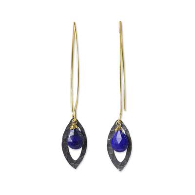 Gold vermeil lapis lazuli dangle earrings, 'Sublime' - Lapis Lazuli Gold Vermeil and Sterling Silver Leaf Earrings