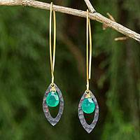 Gold vermeil dangle earrings, 'Sublime' - Gold Vermeil Sterling Silver and Green Onyx Earrings