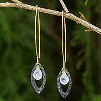 Gold vermeil rainbow moonstone dangle earrings, 'Sublime' - Gold Vermeil Sterling Silver and Rainbow Moonstone Earrings
