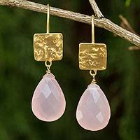 Gold plated chalcedony dangle earrings, 'Icy Pink' - Thai Handmade Gold Plated Pink Chalcedony Earrings