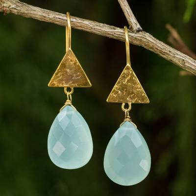Gold plated chalcedony dangle earrings, 'Icy Azure' - Blue Chalcedony Handmade Gold Plated Earrings