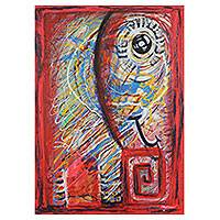 'Sunday Story' - Red Elephant Expressionistic Portrait from Thailand