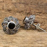 Onyx and marcasite flower earrings, 'Midnight Blooms' - Sterling Silver Vintage Earrings with Onyx and Marcasite