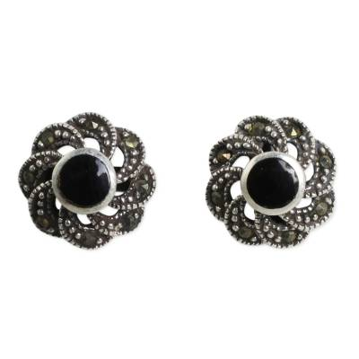 Sterling Silver Vintage Earrings with Onyx and Marcasite