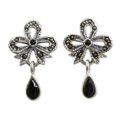 Onyx Vintage Earrings with Sterling Silver and Marcasite