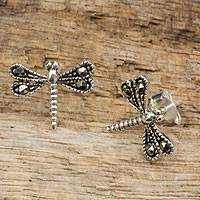 Sterling silver and marcasite stud earrings, 'Petite Dragonflies'