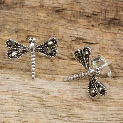 Sterling silver and marcasite stud earrings, 'Petite Dragonflies' - Sterling Silver Artisan Crafted Stud Earrings from Thailand