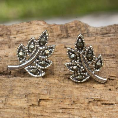 Sterling silver and marcasite stud earrings, 'Petite Leaves' - Leaf Stud Earrings Crafted of Sterling Silver and Marcasite