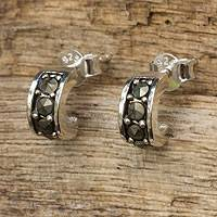 Sterling silver and marcasite half hoop earrings, 'Ever Happy' - Marcasite Studs on Sterling Silver Half Hoop Earrings