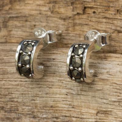 Sterling silver and marcasite half hoop earrings, 'Ever Happy' - Marcasite Studs on Sterling Silver Half Hoop Earrings