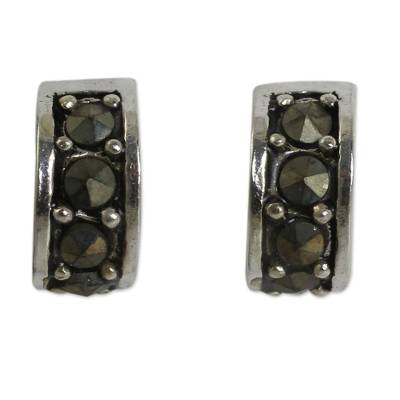 Marcasite Studs on Sterling Silver Half Hoop Earrings