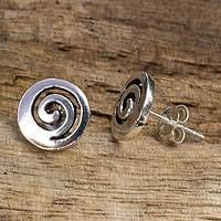 Sterling silver button earrings, 'Spiral Transformation'