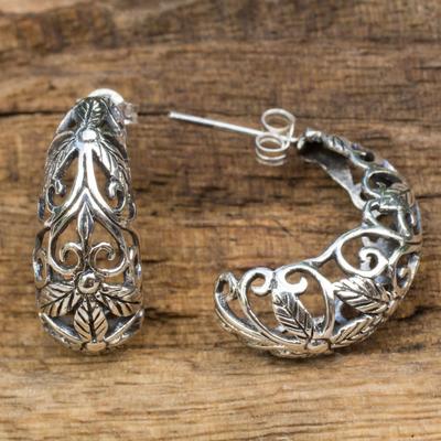 Sterling silver half hoop earrings, 'Floral Fantasy' - Artisan Crafted Openwork Sterling Silver Half Hoop Earrings
