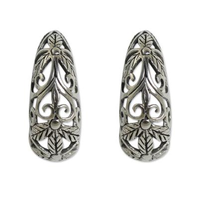 Artisan Crafted Openwork Sterling Silver Half Hoop Earrings