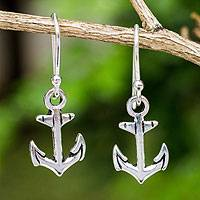 Sterling silver dangle earrings, 'Anchors Away' - Fair Trade Sterling Silver Hand Crafted Anchor Earrings
