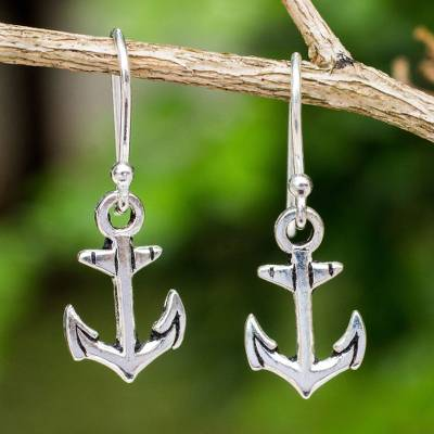 Novica Sterling silver dangle earrings, Anchors Aweigh