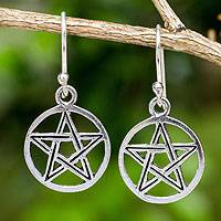 Sterling silver dangle earrings, 'Star Sign' - Artisan Crafted Sterling Silver Star Dangle Earrings