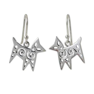 Thai Handcrafted Openwork Sterling Silver Stylized Earrings