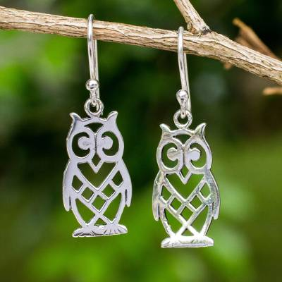 Sterling silver earrings, 'Petite Owl' - Animal Themed Openwork Sterling Silver Earrings