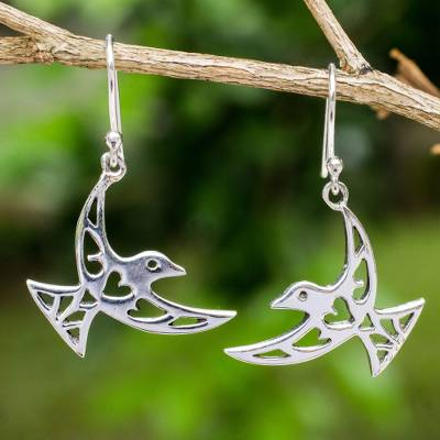 Open work sterling silver earrings, 'Fly Me Away' - Artisan Crafted Sterling Silver Bird Hook Earrings