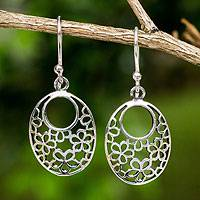 Sterling silver flower earrings, 'Blooming Trance' - Artisan Crafted Sterling Silver Flower Openwork Earrings