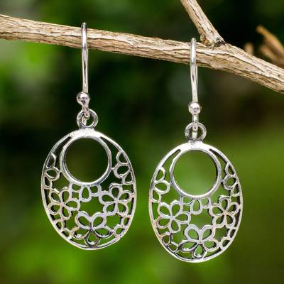 Sterling silver flower earrings, 'Blooming Trance' - Artisan Crafted Sterling Silver Flower Openwork Earrings