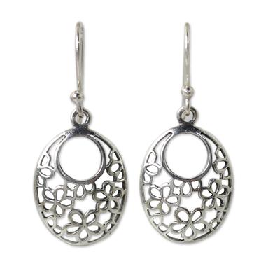 Artisan Crafted Sterling Silver Flower Openwork Earrings