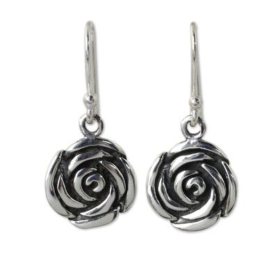 Roses in Handcrafted Sterling Silver Hook Earrings