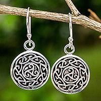 Sterling silver dangle earrings, 'Sister Goddess'