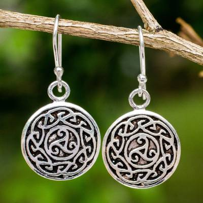 Sterling silver dangle earrings, 'Sister Goddess' - Free Trade Celtic Motif Round Silver Earrings from Thailand