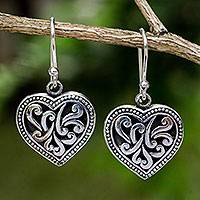 Sterling silver heart earrings, 'Lighthearted Love' - Handmade Romantic Sterling Silver Dangle Earrings