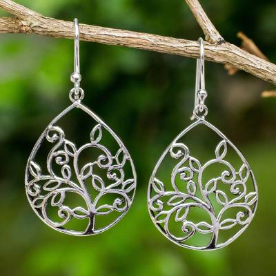 Sterling silver heart earrings, Tree of Love